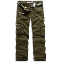 Wholesale Work Uniform Pants - Men Overalls Work Cotton Army Uniform Tactical Pants Loose Casual Trousers Multi Pocket 017