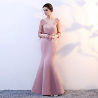 Wholesale sweetheart style evening dress - New arrival elegant beads dress evening dresses prom party vestido de noiva formal lace-up half sleeves lace satin long style