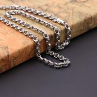 amerikanische halsketten großhandel-Personalisiere 925 Sterling Silber Vintage-Stil Schmuck amerikanische europäische Antike Silber handgefertigte Designer dicke Halskette für Männer