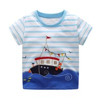 Wholesale baby boys tshirts - Baby Summer Dinosaurs Appliqued Tshirts Fashion Children Clothing Cotton Animals Printed Baby Boy Tops 6pcs lot