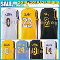 Wholesale ball jerseys - Embroidery Mens Los Angeles Jersey 23 LeBron James 2 Lonzo Ball 0 Kyle Kuzma 14 Brandon Ingram 24 8 Kobe Bryant Basketball Jerseys