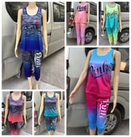 Wholesale camp track - Pink Letter Shirt With Shorts Tracksuit Set Love Pink Outfits 2Pcs Body Track Suit Summer Sportswear Suit DDA582