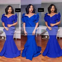 Wholesale Cheap Modern Flower Girl Dresses - 2018 Black Girls Royal Blue Mermaid Prom Dresses Plus Size South African Satin Cheap Evening Gowns Formal Party Dress
