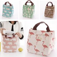 tuval çizmek torba toptan satış-Tuval Yalıtımlı Öğle Yemeği Çantası Flamingo Ayı Çizim Piknik Öğle Kılıfı Çanta Sepetleri Dize Ile Ev Depolama Organizasyon HH7-424