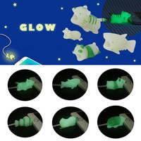 Wholesale glow dark animals for sale - Cable Bite Glow in the Dark styles Animal Bites Cable Protector Shark Hippo Luminous Cable Bites for iPhone Charger Cord with Retail Box