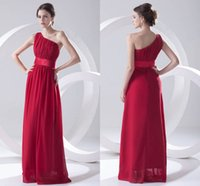 Wholesale one shouldered long bridesmaid dresses for sale - Group buy 2018 Charming One Shoulder Long Bridesmaid Dresses Ruched A Line Zipper Back Wedding Party Dress Cheap Maid of Honor Gowns
