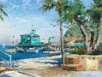 Wholesale canvas pier - Catalina Rosie On The Pier Thomas Kinkade Oil Paintings Art Wall Modern HD Print On Canvas Decoration No Frame