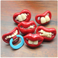 Wholesale baby white lips online - Funny Buck Teeth Red Lips Soother Creative Spoof Baby Silicone Pacifiers Many Styles mm C R