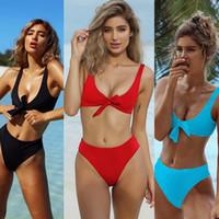Wholesale red white striped bikini - Fashion US women one piece bikini push up padded bra swimsuit bathing swimwear beachwear lady bow beach suits