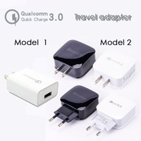 Wholesale travel plugs - QC 3.0 fast charger travel adapter 18W 12v 1.5A 9V 1.8A power adapter wall charger fast charging dock with US EU UK PLUG for you to choose