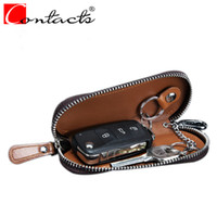 Wholesale Cars England - CONTACT'S Genuine Leather Men Key Wallets Car Key Wallets Fashion Women Housekeeper Holders Carteira chain Zipper Bags
