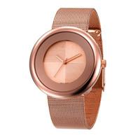 relógios de luxo super venda por atacado-GOO 2018 Novo Super Relógios de Presente de Luxo Mulheres de Aço Inoxidável Relógios de Pulso de Malha Ultra Fino Dial Relógio Mulheres de Quartzo-Relógio