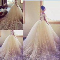 Ball Gown Wedding Dress for sale - 2018 Ball Gown Wedding Dresses Off The Shoulder Handmade Appliques Country Bridal Gowns Long Train Tulle Back Lace Up