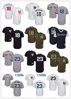 "Wholesale art service - Mens womens youth New York Yankees 18 Didi Gregorius ""Sir Didi"" 23 Don Mattingly Flexbase Authentic Green Salute to Service Baseball jerseys"