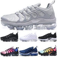 Wholesale 12 plus - 2018 Vapormax TN Plus Mens Designer Running Shoes Silver Triple s Black White Men Sports Sneakers Hyper Violet Blue size 7-12