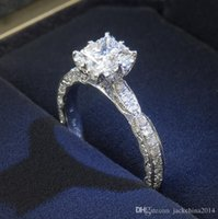 jóia branca mexicana do anel do topázio venda por atacado-Victoria corte princesa 1CT jóias de luxo 925 prata esterlina topázio branco simulado diamante anéis de casamento personalizado para as mulheres presente tamanho 4-11
