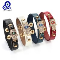 Wholesale evil eye jewelry for men for sale - Group buy Lucky Eye Hamsa Hand Charms Bracelet Evil Eye Crystal Charm Bracelet For Men Women Jewelry Colors Adjustable EY217