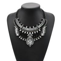 ingrosso collana indiana collare in oro-Collana di cristallo nero d'argento d'oro Collana di gioielli d'epoca indiana Collane di bavero di choker turco per le donne Accessary 1 Pc