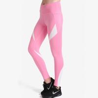 rosa lycra-leggings großhandel-Pottis neue Frauen schnell trocknend Pink White Patchwork Leggings Fashion Knöchellangen Atmungsaktive Fitness Leggings Skinny Yoga Hosen