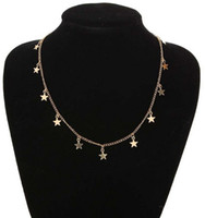 Wholesale christmas day ideas - Stylish Star Tassle Necklace Gold Silver Tone Choker Necklaces Bridemaid Gift Ideas Jewelry Gifts Womens Simple Necklaces