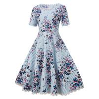 Wholesale swing dress short skirt for sale - The summer dress new temperamental fashion women short sleeve big swing dress small cut flower waist skirt
