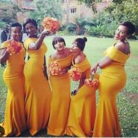 vestido de dama de honor con pliegues amarillos al por mayor-2019 Tallas grandes Sirena Vestidos largos de dama de honor niña negra africana Bateau Cuello Nigeria Amarillo Fruncido Fruncido tren Vestidos africanos Vestidos