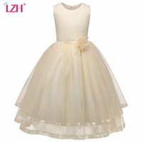 Wholesale Girls Party Dresses Year 12 - Flower Girl Dress For Weddings 2017 Summer Kids Girls Birthday Party Dresses For Girl Princess Dress Children Clothes 10 12 Year