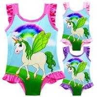 Wholesale sleeveless one piece bathing suit - Fly Wings Unicorn Print Swimsuit Cute One Piece Kids Swimwear Lace Sleeveless Briefs Beachwear Baby Girls Bathing Suits M232
