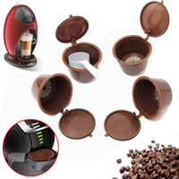 Wholesale plastic spoons for coffee - Coffee Capsule With 1PC Plastic Spoon Refillable Coffee Capsule 150 Times Reusable Compatible For Nescafe Dolce Gusto