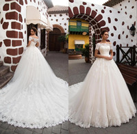 Wholesale corset tulle wedding dresses online - Ball Gown Wedding Dresses Off the shoulder Neckline Sheer Tulle Short Sleeves Corset Court Train Bridal Gowns