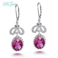 piedra preciosa rubí rosa al por mayor-8.1ct Ruby Gemstone Pink Stone Pendientes de Gota Real 925 Joyas de Plata Cluster Pendientes de Lujo Para Mujeres E0072-W07