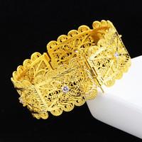 brazaletes musulmanes al por mayor-Filigrana Brazaletes huecos Oro amarillo lleno Islam musulmán Oriente Medio Womens Bracelet Accesorio de joyería