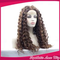 perucas ruivas cacheados crespos venda por atacado-Dark Auburn Cor Kinky Curly Lace Front Perucas Sem Cola com o Bebê Cabelo Castanho Longo Encaracolado Peruca Dianteira Do Laço Sintético para As Mulheres Negras