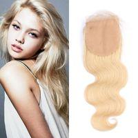 fermetures de soie achat en gros de-# 613 Silk Base Fermeture Vague de Corps Brésilien Cheveux Humains 4x4 Cheveux Blonds Top Fermetures avec des Cheveux de Bébé FDshine