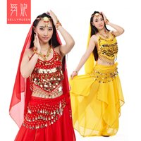 Wholesale indian belly chains resale online - 5 pieces set pepper slice chain skirt veil belly dance suit belly dance Indian dance performance suit