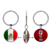 Wholesale mexico gifts - Portugal Flag World Cup Keychain Morocco Peru Mexico Switzerland Japan Flags Glass Double size Keyring Women Men Gifts Jewelry Wholesale