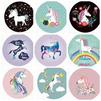 Wholesale Inflatable Beach Mat - Unicorns Beach Towel Round Chiffon Summer Travel Picnic Blanket Beach Cover Towel Swimming Shawl Mat KKA5061