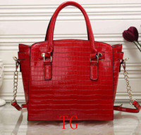 Wholesale Long Chain Handbags - high quality 2018 NEW DESIGNER WOMEN'S HANDBAGS crocodile pu leather fashion totes bags chain long strap shoulder bags messenger bag m797