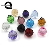 colgante araña bola de cristal al por mayor-Cuadruple 12 unids 30 mm multicolor Feng Shui facetado bola de cristal prisma araña colgante decoración de cristal