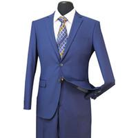 Wholesale royal blue groomsmen suit online - Groom Tuxedos Groomsmen French Blue Side Vent Slim Suits Fit Best Man Suit Wedding Men s Suits Bridegroom Groom Wear Jacket Pants ST003