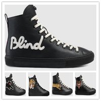 Wholesale Animal Picture Fabric - 2018New TopQuality Luxury Men Womens Embroidered Animal Tiger Snake Picture Genuine Fashion Leather Male Famale Sneakers