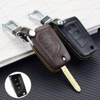 botão chave toyota botão venda por atacado-Top de couro capa de chaves do carro para TOYOTA RAV4 / 15 Highlander 3 Botão Dobrável Protetor Caso Chave Auto Chave Cobre
