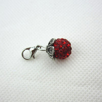 Wholesale Glass Locket Dangles - Hot selling 20pcs lot bright red rhinestone crystal round dangle charms lobster clasp charms for glass floating lockets charms