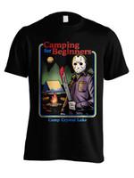 camisas oficiais venda por atacado-Sexta-feira 13 Acampamento para Iniciantes Oficial Jason Voorhees T-shirt Dos Homens Negros engraçado 100% camiseta de Algodão