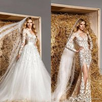 Wholesale Modest Luxury Wedding Dress - Modest Zuhair Murad Bridal Gowns Removable Train A-line Long Sleeves Lace See Through Tulle Sexy Luxury Sheer Wedding Dresses