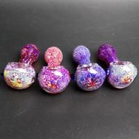 raucherzubehör großhandel-Mini Pyrex Glaspfeifen Ölbrenner Pfeife Rauchzubehör Schöne farbige 3D Rosa Lila Glaslöffel Pfeife Handpfeifen 2,9 Zoll