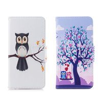 baykuş cüzdanı deri kapak toptan satış-Sevimli Baykuş Serisi Cep Telefonu Kılıfı Cüzdan Para Kart Tutucu ile PU Deri Kapak Standı (Seçenek için 112 Modelleri)