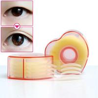 makyaj çift göz kapakları toptan satış-Toptan 300 adet Makyaj Temizle Gözkapağı Şerit Büyük Gözler Görünmez Çift Kat Göz Kapağı Farı Sticker Çift Göz Kapağı Bant Güzellik Araçları C1554P20