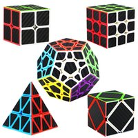 Wholesale Speed Cube Bundle Pack x2 x3 Megaminx Skewb Pyramid Carbon Fiber Sticker Magic Cube Puzzle Toy Set of