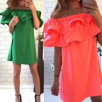 turuncu yeşil elbise toptan satış-Toptan Kadın Seksi Elbise Casual Mini Elbiseler Slash Boyun A-Line Petal Kollu Fırfır Yaka Yaz Yeşil Turuncu